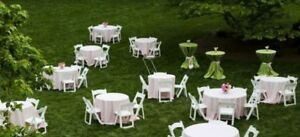 chairs, tables, chafing dish, tent party rentals.