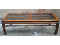 Retro Large oak and glass inlaid coffee table