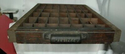 Vtg Hamilton Printer Tray Case Drawer Shadow Box Wood Plastic Handle