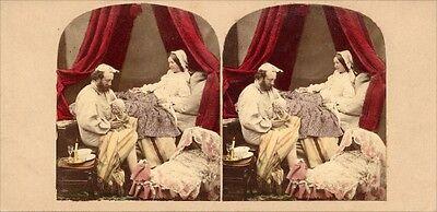 18 kolorierte Stereofotos interessante Genre Motive um 1860, Lot 1