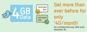 4.5Gb Data, Unlimited talk