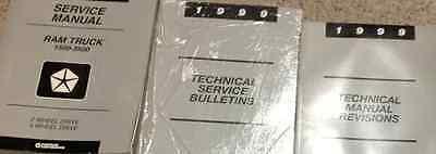 1999 Dodge Ram Truck 1500 2500 3500 Service Shop Repair Manual Set W BULLETINS