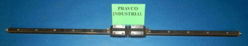 """THK HSR15 Y7C170 (2) Linear Bearing Blocks on Linear Guide Rail 29.5""""OAL"""