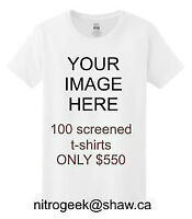 100 White Single Color Silkscreened T-shirts ONLY $550.00 T1W