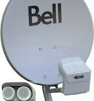 "LIKE NEW 20"" BELL HD  SATELLITE DISH QUAD DPP LNB"