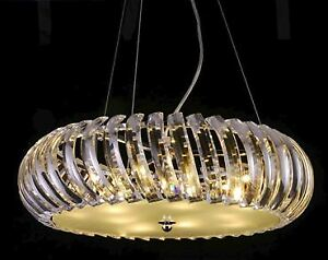 Contemporary pendant light with exquisite curved crystals