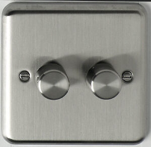 BG British General 2 Gang 2 Way Brushed Chrome Push Dimmer Light Switch 400 Watt