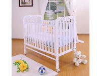 New Tutti Bambini Jenny Dropside Cot - White finish with Wheels