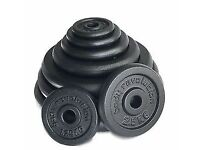 Cast iron weights with bar bell. Total weight with bar 100kg