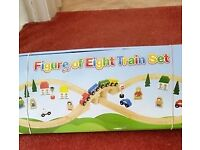 WOODEN TOY TRAIN SET WITH ACCESSORIES