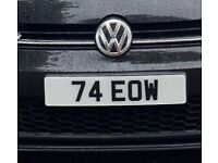 DATELESS NUMBERPLATE 2X3 74 EOW PRIVATE PLATE CHERISHED NOT BMW MERCEDES