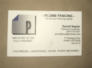 PLUMB FENCING - for all your fencing & retaining needs Southern River Gosnells Area Preview