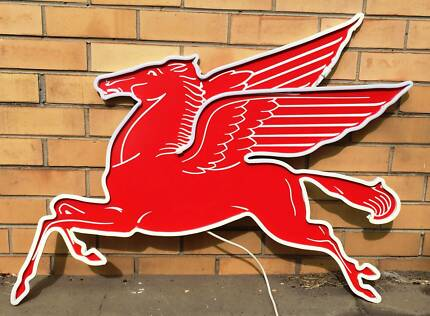 MOBILGAS Neon (LED) Flying Red Horse Metal Sign