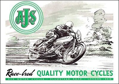 1950 AJS Porcupine motorcycle poster