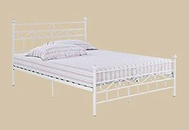 Metal bed, with, quilted, double, spring, mattress, patterned design.