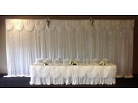Satin Wedding Curtains and Swags, Backdrop for Top Table 6m x 3m
