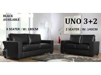 BRAND NEW LEATHER 3+2 SOFA BLACK OR CHOCOLATE BROWN