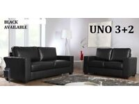 ITALIAN LEATHER SOFA SET 3+2 AS IN PIC black or brown BRAND NEW LAST FEW SETS