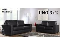 LAST FEW SETS LEATHER SOFA 3+2 AS IN PIC black or chocolate brown