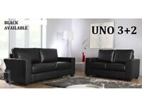 BRAND NEW LEATHER 3+2 SOFA SUITE BLACK + DELIVERY