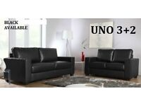 WOW BRAND LEATHER SOFA SET 3+2 AS IN PIC black or chocolate brown