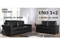 BRAND NEW LEATHER 3+2 SOFA BLACK OR CHOCOLATE BROWN 1960