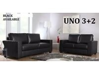 TODAY DELIVERY * BRAND NEW LEATHER SOFA SET 3+2 AS IN PIC black