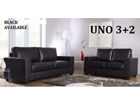 BRAND NEW LEATHER 3+2 SOFA SUITE BLACK OR CHOCOLATE BROWN + DELIVERY