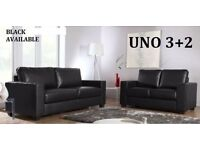 **NEXT DAY DELIVERY** BRAND NEW LEATHER SOFA SET 3+2 AS IN PIC black only