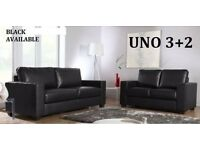 *NEXT DAY DELIVERY * BRAND NEW LEATHER SOFA SET 3+2 AS IN PIC black