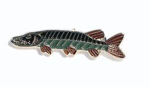 Metal Enamel Pin Badge Brooch Angling Pike Fish