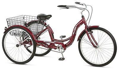 Schwinn Meridian Tricycle Adult Bicycle BikeTrike Ride Basket 3 Wheel Cruiser 26