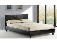 "**FREE DELIVERY** BRAND NEW Double Leather Bed With 9"" Semi Orthopaedic Mattress"