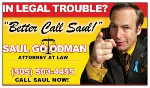 "Breaking Bad - Saul Goodman ""Better Call Saul"" Business Card FREE SHIPPING"