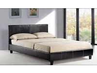 BRAND NEW LEATHER BED FRAME DOUBLE SINGLE KINGSIZE WITH 1000 POCKET SPRUNG MATTRESS