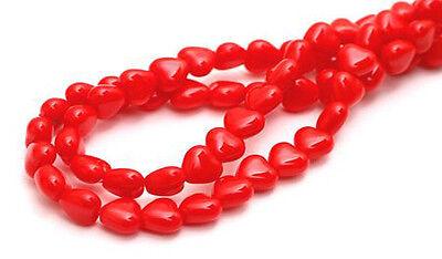 Opaque Red Heart Czech Glass Beads 6MM Glass 6mm Heart Beads
