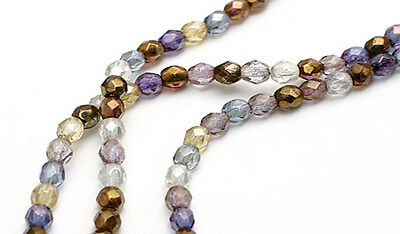 100 Luster Mix Fire Polished Czech Glass Faceted Round Beads 4MM