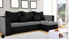 Corner sofa bed grey and black brand new