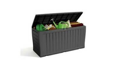 Keter Comfy Wood Effect Plastic Garden Storage Box - 270L - UK Seller