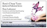 Rose's Cheap Taxes; Quality Service and Affordability.
