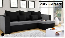 Corner sofa bed, brand new, left or right hand side with storage