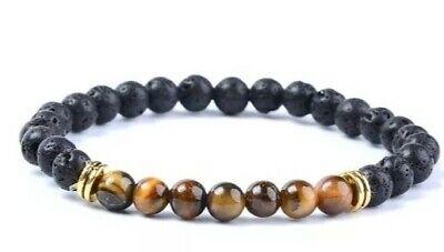 Lava Tiger Eye Bracelet Essential Oil Anxiety Stress Ladies Men's Reiki Buddha