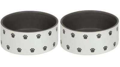 2 er Set Keramik Napf Futternapf Wassernapf Hundenapf Katzennapf Steintrog