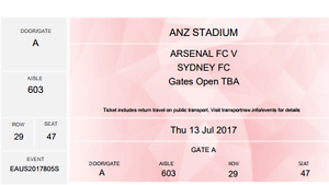 2 X ARSENAL FC vs SYDNEY FC FOOTBALL SOCCER TICKETS FOR 13 JULY 2 Burpengary Caboolture Area Preview