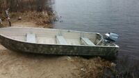 14'  boat trailer and 18hp motor