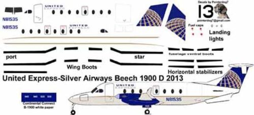 United Express Beechcraft B-1900D Pointerdog7 decals for 1/144 kits