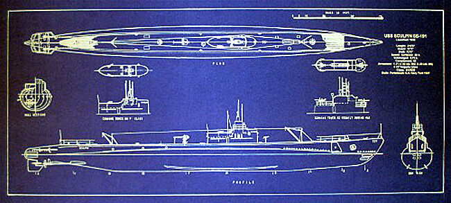 Vintage WW2 USN Attack Submarine USS Sculpin SS-191 Blueprint 10x23  (283)