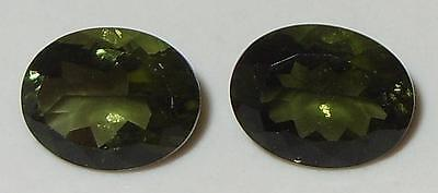 3.04ct Pair Faceted TOP QUALITY Natural Czechoslovakia Moldavite Oval Cut 9x7mm