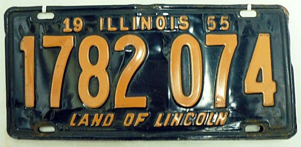 OLD ILLINOIS CAR LICENSE PLATES 1955