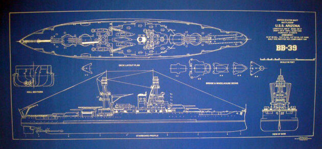 "WW2 Battleship USS Arizona Blueprint Drawing Display Plan 17"" x 36"" (089)"